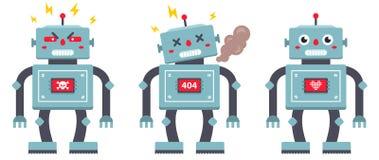 Установите роботов на белой предпосылке злой, сломленный и добросердечный киборг утюга иллюстрация вектора