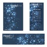 Установите рогульку, шаблон размера A4 брошюры, знамя Молекулярная структура с соединенными линиями и точками Научный атом картин Стоковое фото RF