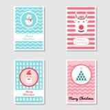 Установите рождественской открытки мотива и карты приглашения в плоском дизайне используя рождественскую елку, снеговик, северный иллюстрация вектора