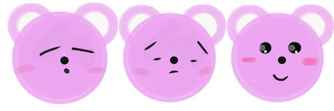 Установите розовых намордников медведей мультфильма с эмоциями ( бесплатная иллюстрация