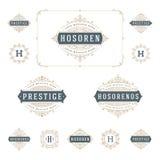 Установите роскошные эффектные демонстрации шаблона логотипов каллиграфический бесплатная иллюстрация