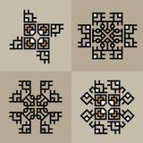Установите роскошный шаблон украшения японский, каллиграфический, аравийский, ацтекский элегантный орнамент Знак дела, идентичнос Стоковое Изображение
