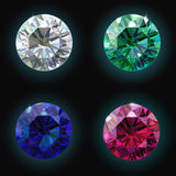 Установите рубиновый диамант изумруда сапфира вектор Стоковые Изображения RF