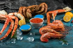 Установите свежих морепродуктов стоковая фотография rf