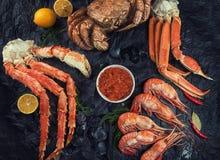 Установите свежих морепродуктов стоковое фото rf