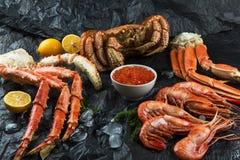 Установите свежих морепродуктов стоковые фотографии rf