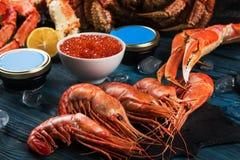 Установите свежих морепродуктов стоковое фото