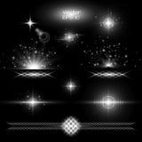 Установите световой эффект на черной предпосылке Стоковое Изображение
