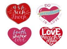 Установите 4 сердец с цитатами рук-литерности спросите, поищите, постучайте Вера, надежда, любовь иллюстрация вектора