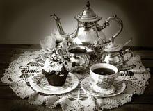 установите серебряный чай Стоковые Изображения