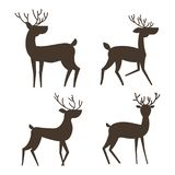 Установите силуэта 4 оленей иллюстрация штока