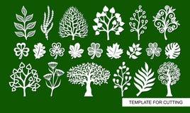 Установите силуэтов заводов, деревьев, водорослей, ветвей бесплатная иллюстрация