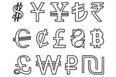 Установите символы ведущей иллюстрации вектора валют мира иллюстрация вектора