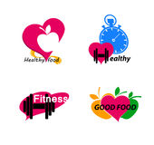 Установите символы здоровья Здоровая еда и фитнес бесплатная иллюстрация