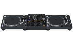 Установите смеситель таблицы dj цифровой, аппаратуру музыки иллюстрация вектора