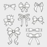 Установите смычков руки вычерченных декоративных Украшение для традиционных праздников и подарочных коробок также вектор иллюстра иллюстрация вектора