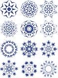 установите снежинки белым Стоковые Фотографии RF