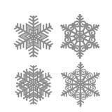 установите снежинки Иллюстрация в белых и черных цветах иллюстрация вектора