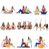Установите собрание sporty женщин exerxicing на белизне Стоковая Фотография