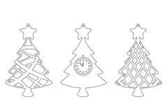 Установите современной рождественской елки Игрушка Нового Года для вырезывания лазера также вектор иллюстрации притяжки corel иллюстрация штока