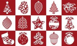 Установите современной рождественской елки Игрушка Нового Года для вырезывания лазера также вектор иллюстрации притяжки corel бесплатная иллюстрация