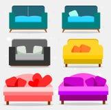 Установите соф и подушек, собрания софы иллюстрация вектора