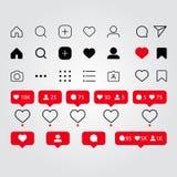 Установите социальных значков средств массовой информации воодушевленных Instagram: как, следующий, комментарий, дом, камера, пот бесплатная иллюстрация