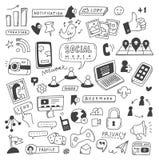 Установите социальных doodles средств массовой информации иллюстрация штока