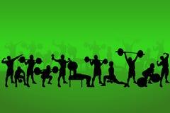 Установите спортсменов на зеленом цвете иллюстрация штока