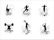 установите спортсменов силуэтов Стоковое Изображение RF