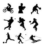 установите спорт силуэта Стоковые Изображения
