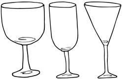 Установите стекел алкоголя руки рисуя для вина и коктейлей o иллюстрация штока