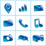 Установите стеклянный символ цвета кнопки значков Стоковые Изображения RF