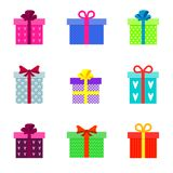 Установите стильных плоских красочных подарочных коробок иллюстрация штока