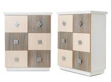 Установите стильных commodes на белизне Мебель для шкафа стоковые фотографии rf