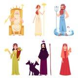 Установите стиля мужского и женского древнегреческого или римского мультфильма богов и богинь бесплатная иллюстрация