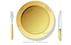 Установите столовый прибор эскиза Плита, вилка и нож Шаблон для представления иллюстрация штока