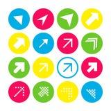 Установите 16 стрелок с северо-восточным направлением Кнопки стрелки на белой предпосылке в малиновых, голубых, желтых и прозрачн бесплатная иллюстрация