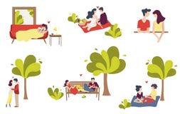 Установите сцен пар молодых людей в любов иллюстрация вектора