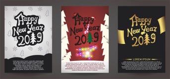 Установите счастливой Нового Года поздравительной открытки 2019 иллюстрация штока