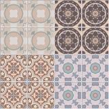 Установите с безшовной орнаментальной предпосылкой плитки Для картины или текстур Стоковое Изображение