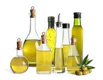 Установите с бутылками оливкового масла стоковые изображения rf