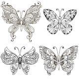 Установите с декоративными бабочками для крася страницы Печать сделанная по образцу Ornamental, monochrome эскиз иллюстрация штока