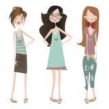 Установите с девушками моды Стоковые Изображения RF