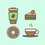 Установите с десертами и горячими пить включая свежий кофе, горячим чаем, тортом с клубникой и донутом Стоковое фото RF