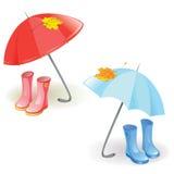 Установите с зонтиком и резиновыми ботинками Стоковое Изображение RF