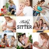 Установите с изображениями прелестных детей и няней стоковое изображение rf