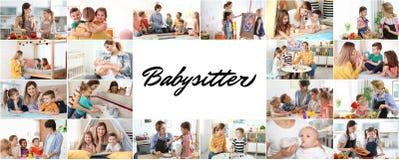 Установите с изображениями прелестных детей и няней стоковые изображения