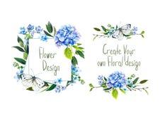 Установите с иллюстрацией голубой гортензии, бабочки и других цветков Стоковые Изображения