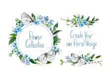 Установите с иллюстрацией голубой гортензии, бабочки и других цветков Стоковые Фото